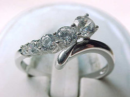 14K WHITE GOLD RING with Cubic Zirconia Size 6 1/4 - BEAUTY - $150.00