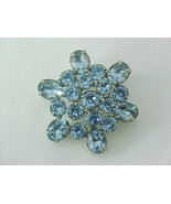 WEISS signed Sky Blue RHINESTONE Vintage BROOCH Pin - STUNNING - FREE SH... - $85.00