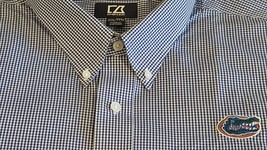 CUTTER & BUCK FLORIDA GATORS Mens Blue & White Checkered Dress Shirt Siz... - $66.56