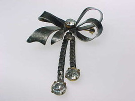 STERLING Silver Vintage Ribbon BROOCH Pin with Dangling Rhinestones - 2 ... - £42.19 GBP