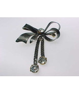 "STERLING Silver Vintage Ribbon BROOCH Pin with Dangling Rhinestones - 2 1/2 "" - $55.00"