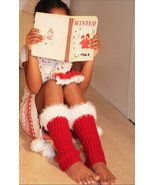 Xmas Winter Black or Red Legwarmers with pompoms - $24.95