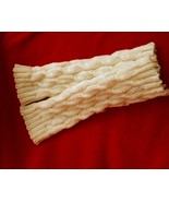 mohair cabled arm/leg warmers, off white - $24.95