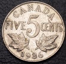 1936 Canada 5 Cents Nickel Coin ***VF+ Condition*** - $3.88