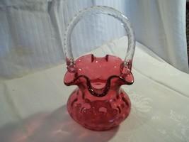 Fenton Ruby Overlay Bubble Optic Basket - $42.50