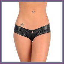Faux PU Leather Bikini Panties - Zipper Front to Back - Open Fly w/ Belt Loops image 3