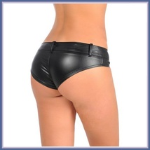 Faux PU Leather Bikini Panties - Zipper Front to Back - Open Fly w/ Belt Loops image 4