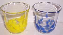 (2) Murano Style Yellow &  Blue Handblown Splatter Stone Glass Displays - $133.15