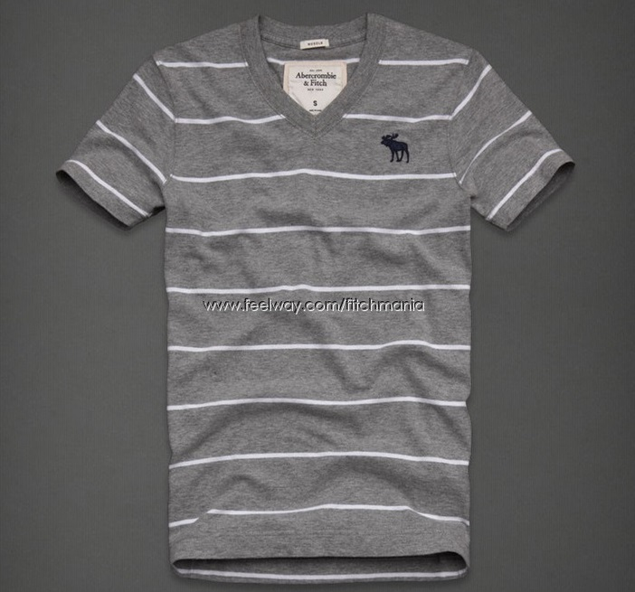Abercrombie and FITCH Soft Gray/White Shirt NeW Medium M Short Sleeve ...