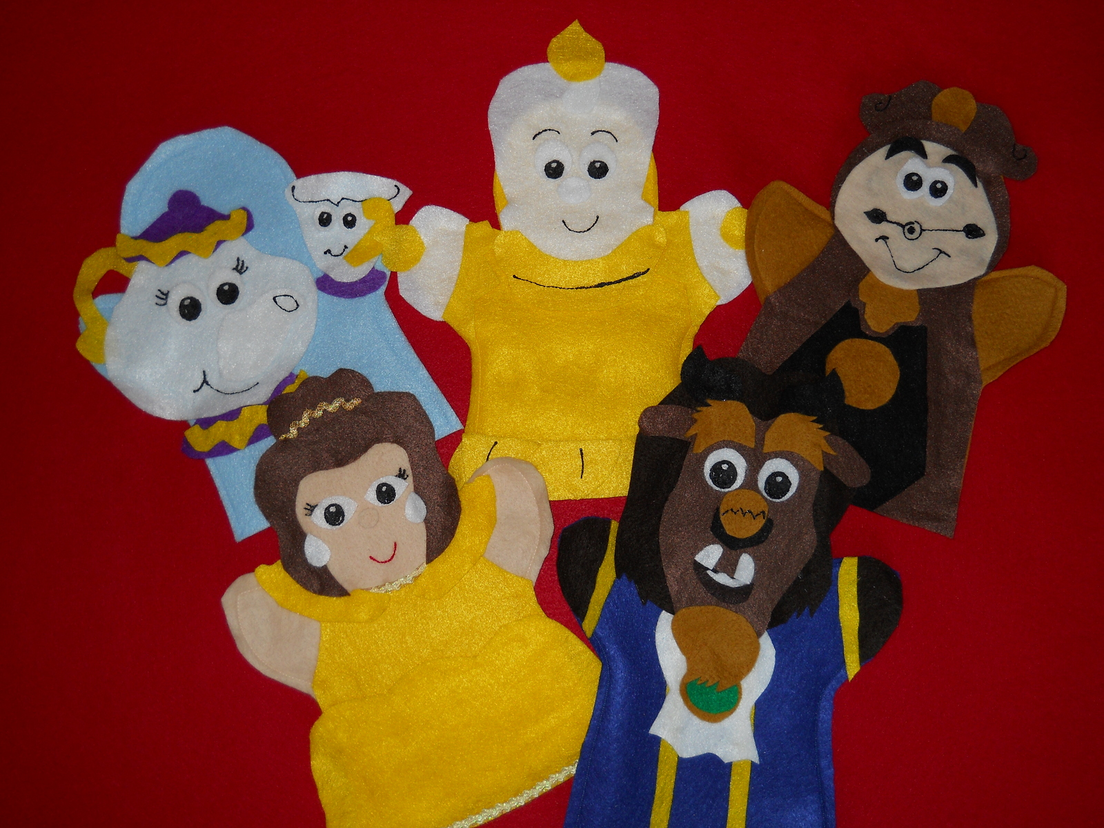 Puppet-- Beauty and the Beast hand puppets- Belle, Beast, Mrs Potts, Candle Stic