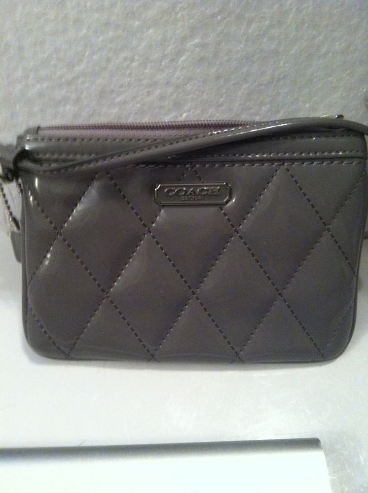 Primary image for NWOT Coach Poppy Grey Patent Leather Gloss Small Wristlet Wallet Purse 46576