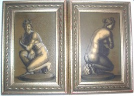 (2) framed vintage nude european women portrait art etched on board plaques - $288.53