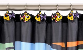 Romero Britto Shower Curtain Hooks - Fish Design  - Set of 12 -  NEW #333002