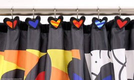 Romero Britto Shower Curtain Hooks - New Day Design  - Set of 12 -  NEW #333022
