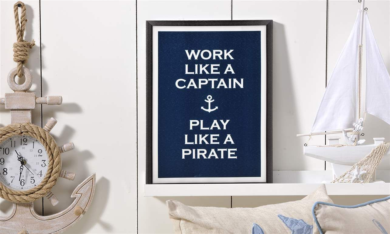 "Nautical Canvas Wall Sign  12"" x 16"" - ""Work like a Captain, Play like a Pirate"""