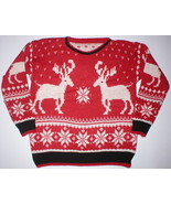 RED MENS REINDEER SNOWFLAKE UGLY CHRISTMAS SWEATER  FITS SIZE SMALL/MEDI... - £25.43 GBP