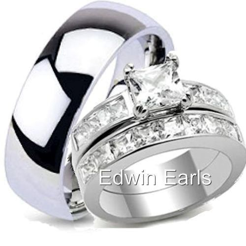 His hers top quality wedding ring set stainless steel for Best quality wedding rings
