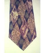 Aldo Ponti Diamond Geometric Pattern Tie Tan Green Brown Handstitched Si... - $19.22