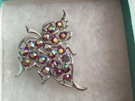 Sarah Coventry Red AB Aurora Borealis Rhinestone Leaf Pin Brooch - $13.60
