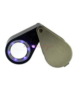 20X Diamond Jewelry Loupe Magnifier + LED & UV light 21mm lens Free Leat... - $26.46