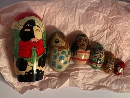 Nesting Russian Matroyshka Eggs Farm Cow HohlomaHandmade Doll Handpainted - $22.37