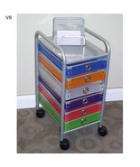 Six Drawer Rolling Storage Home Office School Craft Organizer Cart Color... - $93.90