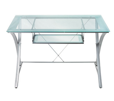 Realspace Zentra Computer Desk Silver/Clear
