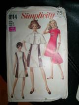 Vintage 60's Dress Cape Pattern 12 Simplicity #8114 - $12.86
