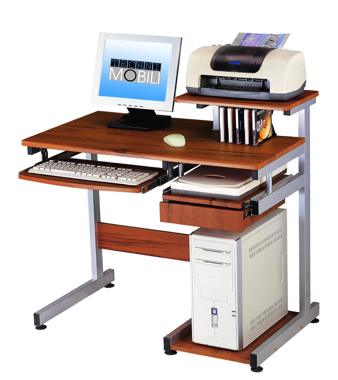 Techni mobili complete media computer desk home office for Mobili office