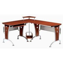 Mahogany L Desk Computer Office Furniture Keybo... - $279.00