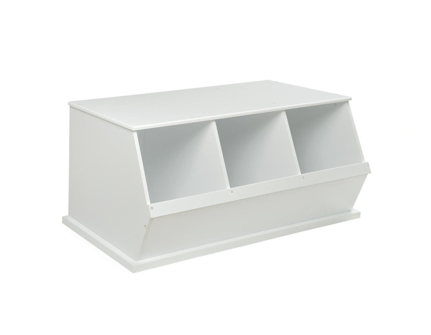 Three Bin Stackable Storage Cubby In White Home Bedroom