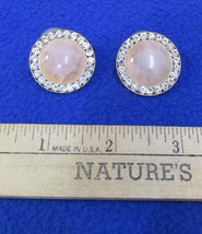 Earrings Gold Tone Metal Marbled Pink Glass Stones & Rhinestones Vintage... - $12.22