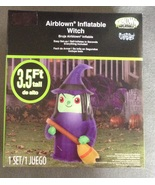 3.5 foot Indoor Outdoor Inflatable Witch with Broom Halloween Decoration - $14.95