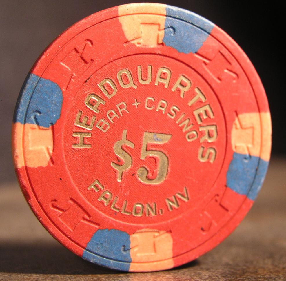 "Primary image for $5.00 - 1987 Casino Chip From: ""Headquarters Bar Casino""- (sku#2847)"