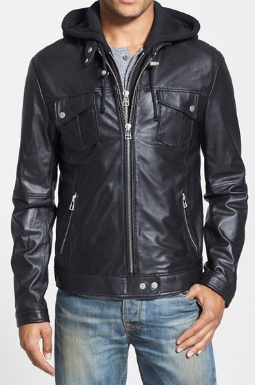 Mens black hooded leather jacket