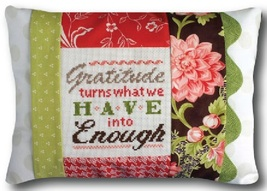 Gratitude Is Enough Words of Wisdom 9x12 pillow kit cross stitch Pine Mtn Design - $18.00