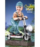 Little Boy with Scooter Solar Garden Statue - $22.75