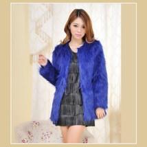 Long Hair Sapphire Blue Long Sleeve Mid Length Fashion Faux Fox Fur Coat Jacket
