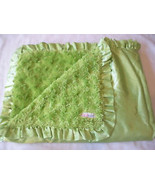 Free Ship Green Swirly Plush Satin Ruffle Trim Babykin Baby Blanket - $15.99