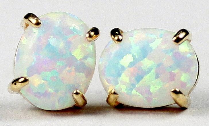 E102C, 10x8mm Created White Opal, 14KY Gold Post Earrings - $174.29