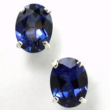 SE002, 8x6mm Created Blue Sapphire, 925 Sterling Silver Post Earrings - $42.31