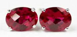 SE002, 8x6mm Created Ruby, 925 Sterling Silver Post Earrings - $40.16