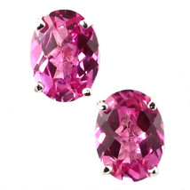 SE002, 8x6mm Created Pink Sapphire, 925 Sterling Silver Post Earrings - $34.79