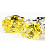 SE007, 8x6mm Golden Yellow CZ, 925 Sterling Silver Leverback Earrings - $37.52
