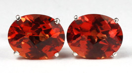 SE102, 10x8mm Created Padparadsha Sapphire, 925 Sterling Silver Post Earrings - $56.82