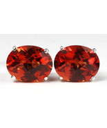 SE102, 10x8mm Created Padparadsha Sapphire, 925 Sterling Silver Post Ear... - $56.82