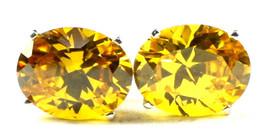 SE102, 10x8mm Golden Yellow CZ, 925 Sterling Silver Post Earrings - $56.82