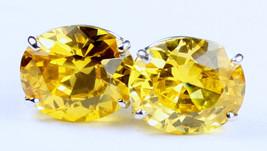 SE202, 12x10mm Golden Yellow CZ, 925 Sterling Silver Post Earrings - $38.76