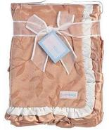 Free Ship Babykins Embossed Leaf brown baby blanket with satin trim - $15.99