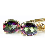 E007, 8x6mm Mystic Fire Topaz, 14KY Gold Leverback Earrings - $248.89